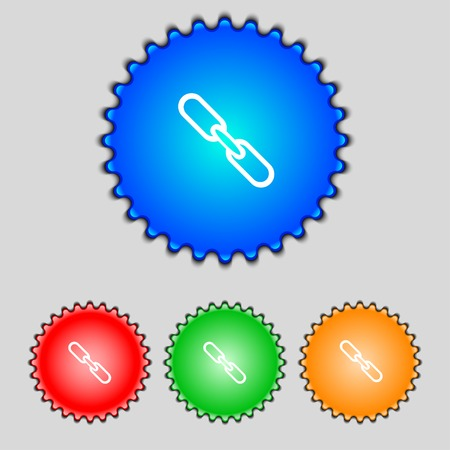 appendix: Link sign icon. Hyperlink chain symbol. Set colourful buttons. Vector illustration Illustration