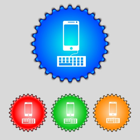 qwerty: Computer keyboard and smatphone Icon. Set colourful buttons. Vector illustration