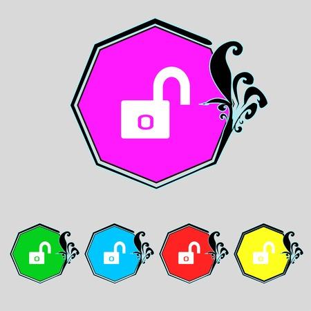 locker: Lock sign icon. Locker symbol. Set colur buttons. Vector illustration Illustration
