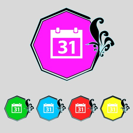date stamp: Calendar sign icon. 31 day month symbol. Date button. Set colourful buttons Vector illustration