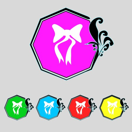 graphical: graphical decorative bows. Set colourful buttons. Vector illustration Illustration