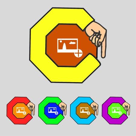 compression: Plus, add File JPG sign icon. Download image file symbol. Set colourful buttons Modern UI website navigation Vector illustration Illustration