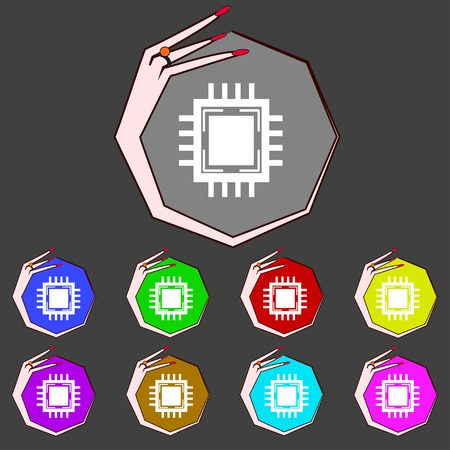 transistor: Central Processing Unit Icon. Technology scheme circle symbol. Set colourful buttons. Vector illustration Illustration