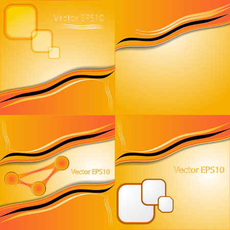 intensity: Set of orange and yellow abstract art water colour hand paint background. Vector illustration Illustration