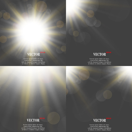 Abstract blurry background with overlying semi transparent circles, light effects and sun burst. Vector illustration