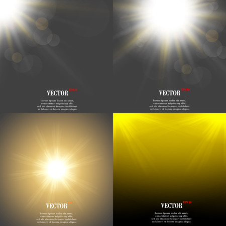 overlying: Abstract blurry background with overlying semi transparent circles, light effects and sun burst. Vector illustration