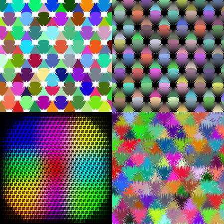 slop: Set of Abstract rainbow colorful tiles mosaic painting geometric palette pattern background. Vector illustration Illustration