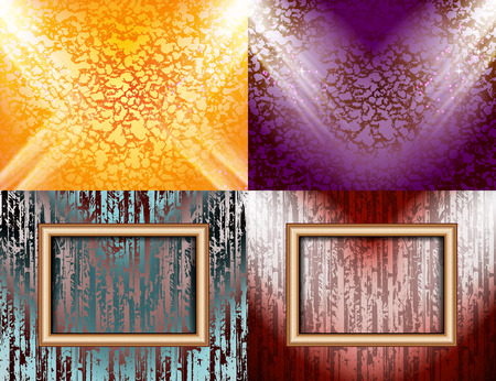 Set of Blank frame on a color wall lighting, abstract colored background with spotlights. Vector illustration Vector