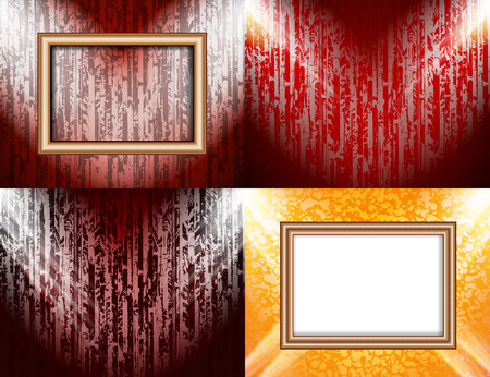 theatrical dance: Set of Blank frame on a color wall lighting, abstract colored background with spotlights. Vector illustration
