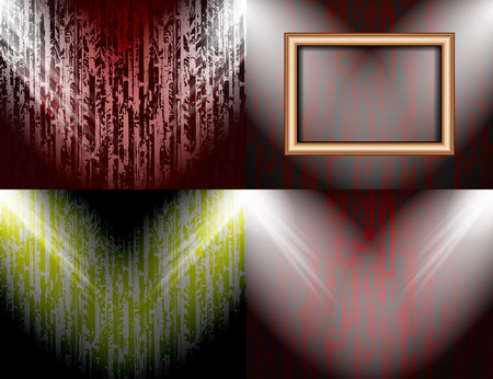 searchlights: Set of colorful abstract backgrounds and frames for text or photos illuminated by searchlights. Vector illustration
