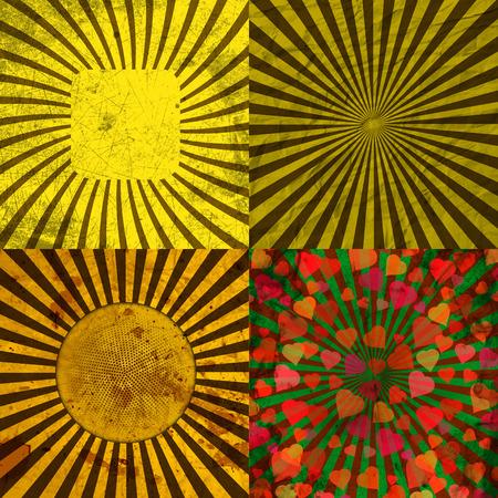 Sunburst Retro Textured Grunge Background Set. Vintage Rays. Vector illustration