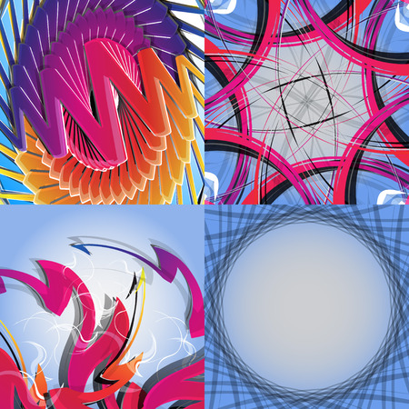 Set of abstract rainbow colored backgrounds with swirl. Vector Illustration Vector