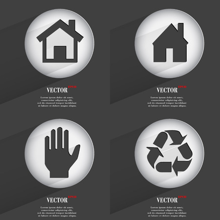 Set of one-color web buttons flat design. Simple circle sticker internet sign gray background. web-design elements. Vector illustration Vector