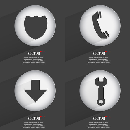 Set of Trendy buttons. Icons With Long Shadow. Vector illustration Vector