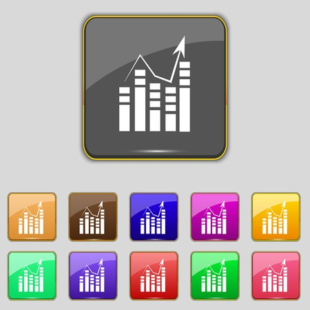 Text file sign icon. Add File document with chart symbol. Accounting symbol. Set colour buttons  Vector