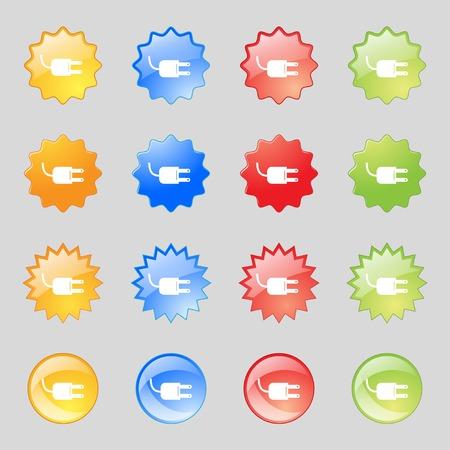unplugged: El�ctrico icono de signo enchufe. S�mbolo de la energ�a de alimentaci�n. Definici�n de botones de color. Vectores