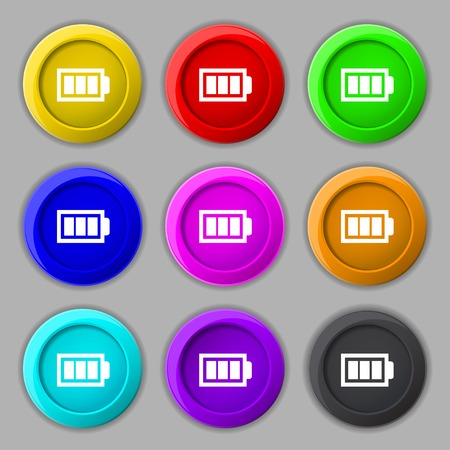 Battery fully charged sign icon. Electricity symbol. Set of colour buttons. Modern interface website button Vector