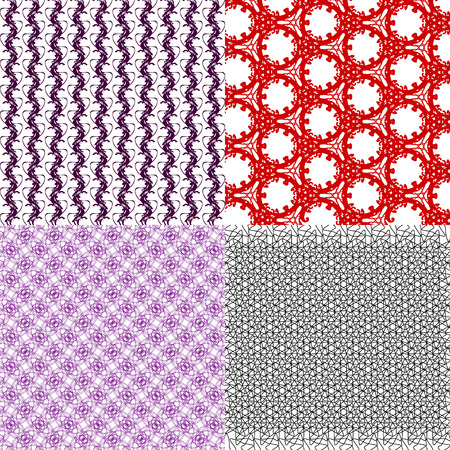 Set of abstract vintage geometric wallpaper pattern background. Vector illustration