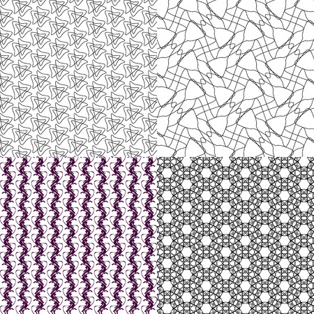 small group of objects: Set of 4 monochrome elegant patterns.Vector ornaments. May be used as background