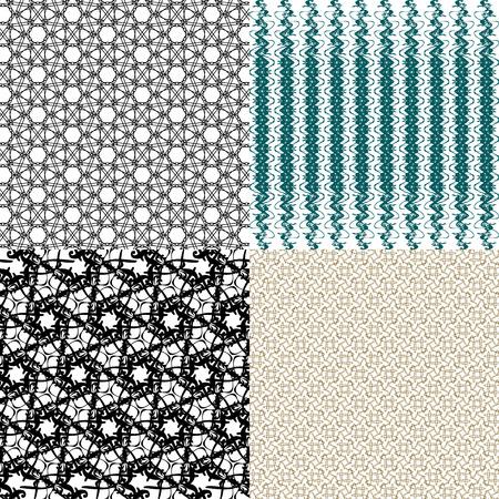 latticed: Set of  geometric pattern in op art design. Vector illustration art Illustration