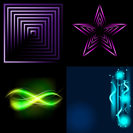 beautifully: Set of Beautifully glowing neon abstract background with space for text. Vector illustration
