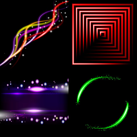 Set  of colorful  abstract background with blurred magic neon light curved lines. Vector illustration Vector