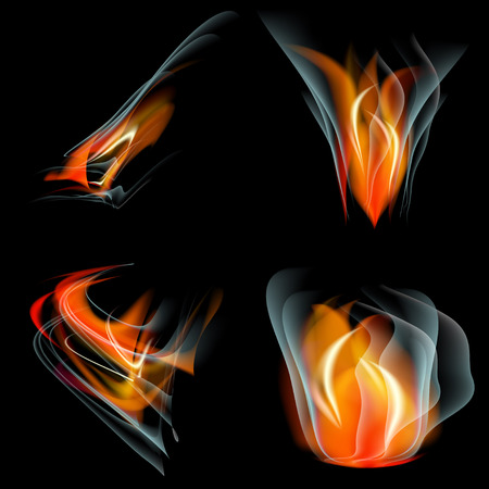 Collection of fires isolated on black background. Vector illustration