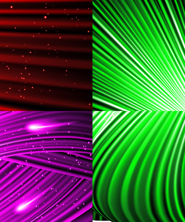Set of Snow and stars are falling on the background of colour luminous rays. Vector illustration Vector