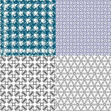4 Geometric patterns, tiling. Set of vector abstract vintage backgrounds. Vector illustration Vector