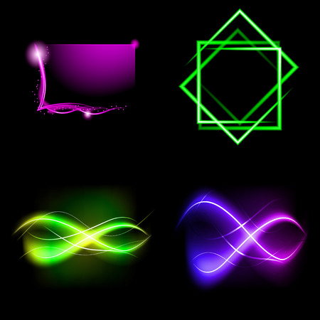 lighted: Set of Blurry abstract lines. Light effect. Sparkle background. Vector illustration