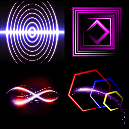 light streaks: Set of Blurry abstract lines. Light effect. Sparkle background. Vector illustration