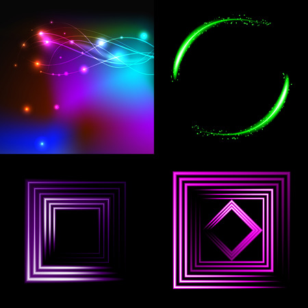 Set of Blurry abstract lines. Light effect. Sparkle background. Vector illustration Vector