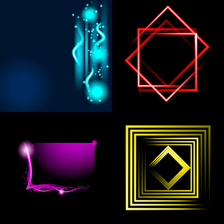 Set of Beautifully glowing neon abstract background with space for text. Vector illustration Vector