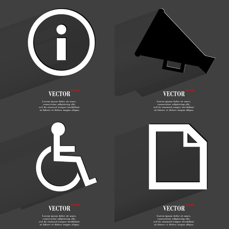 Set of icons. Collection of symbols. Modern Flat web design with long shadow and space for your text. Vector illustration Vector
