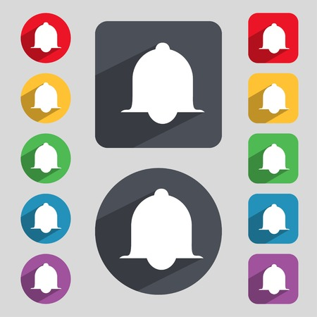 Alarm bell sign icon. Wake up alarm symbol. Speech bubbles information icons. Set of colourful buttons Vector illustration Vector