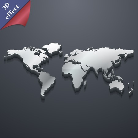 tokens: World map icon symbol. 3D style. Trendy, modern design with space for your text Vector illustration Illustration