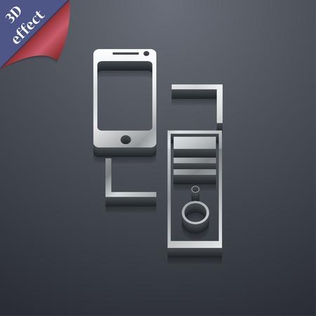 sincronizacion: Sincronizaci�n icono s�mbolo. Estilo 3D. Dise�o de moda, moderno, con espacio para el texto Ilustraci�n vectorial Vectores