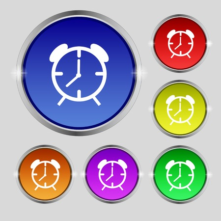 Alarm clock sign icon. Wake up alarm symbol. Set of colourful buttons. Vector illustration Vector