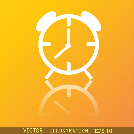 wake up call: Alarm clock icon symbol Flat modern web design with reflection and space for your text. Vector illustration
