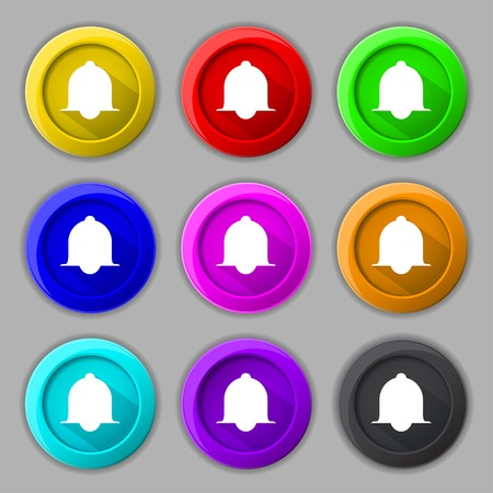 wake up call: Alarm bell sign icon. Wake up alarm symbol. Speech bubbles information icons. Set of colourful buttons Vector illustration