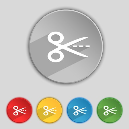 snip: Scissors with cut dash dotted line sign icon. Tailor symbol. Set of colored buttons. Vector illustration