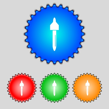 procreation: dropper sign icon. pipette symbol. Set of colored buttons. Vector illustration Illustration