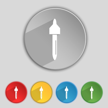 eye pipette: dropper sign icon. pipette symbol. Set of colored buttons. Vector illustration Illustration
