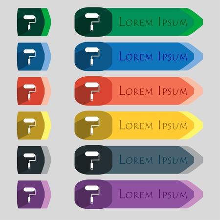 Paint roller sign icon. Painting tool symbol. Set of colored buttons. Vector illustration Vector