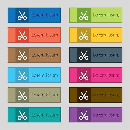 ciach: Nożyczki fryzjerskie ikona znak. Krawiec symbol. Zestaw kolorowych przycisków. Ilustracji wektorowych