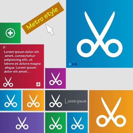 disclosed: Scissors hairdresser sign icon. Tailor symbol. Set of colored buttons. Vector illustration Illustration