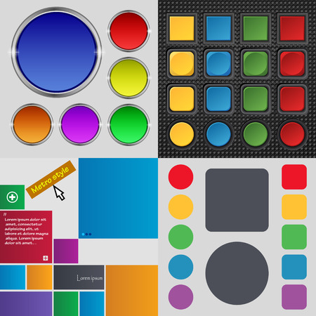 Big set of different colored buttons. Trendy, modern design for your web site. Vector illustration illustration