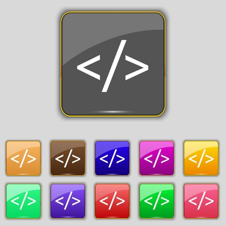 hypertext: Code sign icon. Programming language symbol. Set of colored buttons. Vector illustration