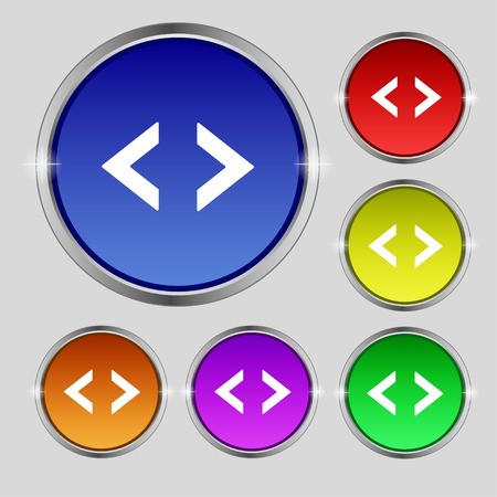 coder: Code sign icon. Programmer symbol. Set of colored buttons. Vector illustration