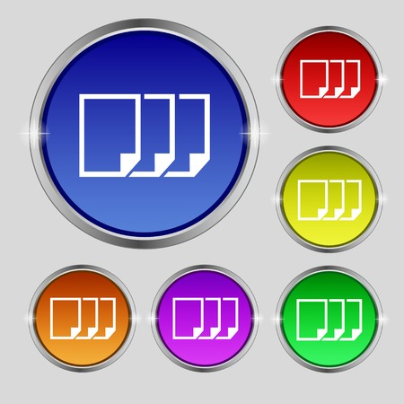 duplicate: Copy file sign icon. Duplicate document symbol. Set of colored buttons. Vector illustration